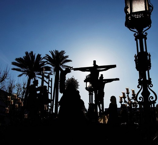 Baldachin, crucifix during the Semana Santa or Holy Week procession in Seville, Andalusia, Spain, Europe : Stock Photo