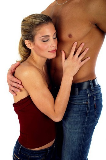 Woman leaning against man´s chest : Stock Photo