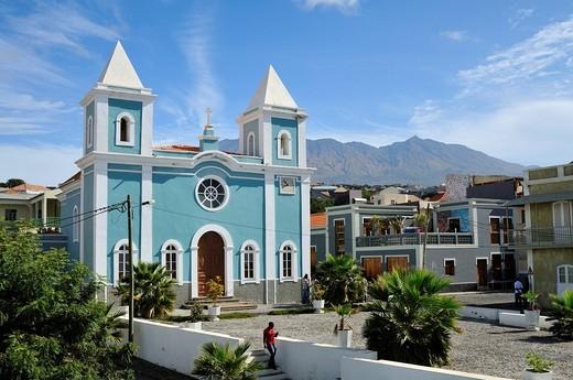 Nossa Senhora da Conceicao, catholic church, Sao Filipe, Fogo Island, Cape Verde Islands, Africa : Stock Photo