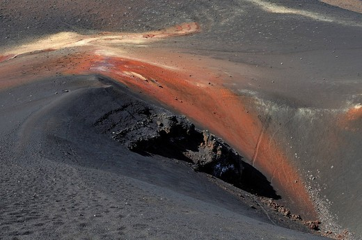 Crater of the Pico de Pequeno, Pico de Fogo Volcano, Fogo Island, Cape Verde Islands, Africa : Stock Photo