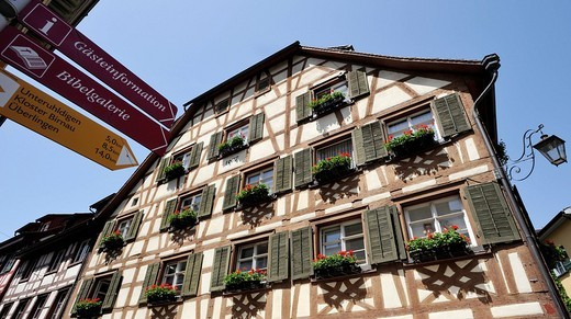 Half_timbered house in the city of Meersburg, Lake Constance, Baden_Wuerttemberg, Germany, Europe : Stock Photo