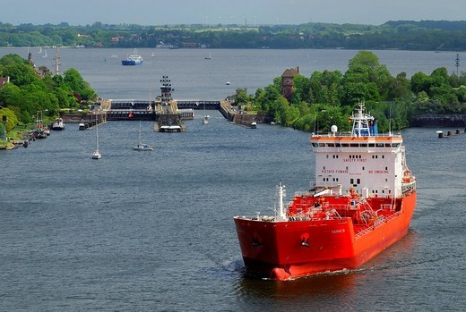 Stock Photo: 1848-180787 LPG tanker leaving the Holtenau lock, Kiel Canal, Schleswig_Holstein, Germany, Europe