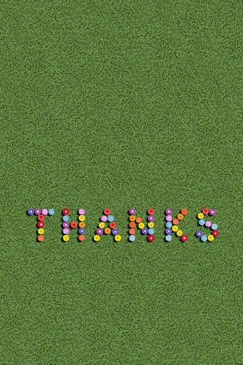 Thanks Thank you written with flowers : Stock Photo
