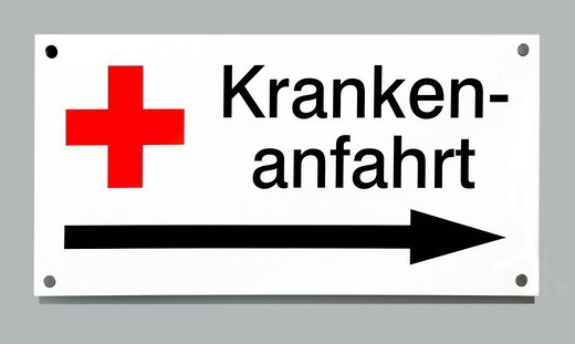 Stock Photo: 1848-181067 Indication sign: drive for patients