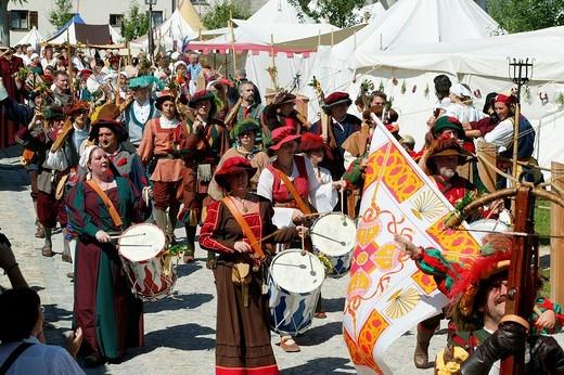 Medieval festival, Burghausen, Upper Bavaria, Bavaria, Germany, Europe : Stock Photo