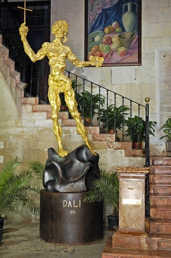 Stock Photo: 1848-181664 Sculpture by Salvador Dali in the stairway of the entrance are of the town hall, ayuntamiento, Alicante, Spain