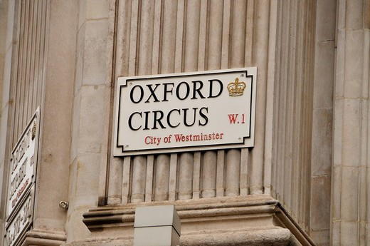 Sign Oxford Circus, London, England, Great Britain, Europe : Stock Photo