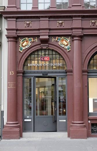 Guild house, Zunft zu Weinleuten, entrance of CIC Suisse, Basel City, Switzerland, Europe : Stock Photo