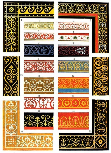 Pompeian murals, antiquity, Roman_Hellenistic ornament, Zahn, ornaments of all classic art eras : Stock Photo