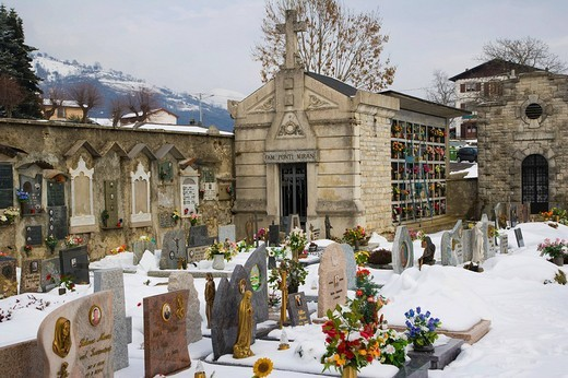 Graves and vaults, winter, Pigra cemetery, Lake Como, Lombardy, Italy, Europe : Stock Photo
