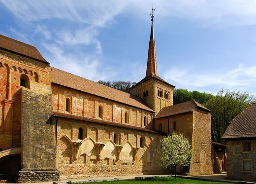 Stock Photo: 1848-182340 Collegiate church of the Romanesque Abbey Romainmoitier, Vaud, Switzerland, Europe