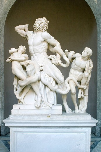The statue of Laocoon and His Sons, also called the Laocooen Group, monumental marble sculpture, Vatican Museums, Rome, Italy : Stock Photo