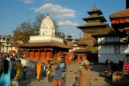 People walking over Durbar Square with many temples Kathmandu Nepal : Stock Photo
