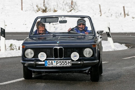 Stock Photo: 1848-183192 BMW 1602 Cabrio, built 1969, Jochpass Memorial 2007, Bad Hindelang, Bavaria, Germany