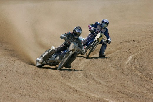 Stock Photo: 1848-183426 Short track race, international motorcycle race on a dirt track speedway in Muehldorf am Inn, Upper Bavaria, Bavaria, Germany, Europe