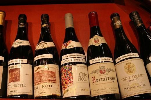 Bottles of red wine, Paul Bocuse market hall, Lyon, France : Stock Photo