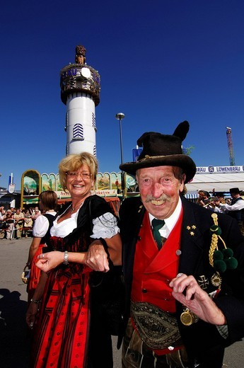 Stock Photo: 1848-183883 Woman and man wearing traditional costumes in a procession, Wies´n, Oktoberfest, Munich, Bavaria, Germany, Europe