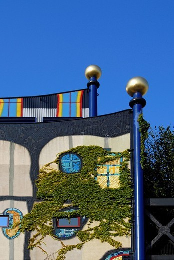 Colourful facade of Spittelau incineration and heating plant, designed by Friedensreich Hundertwasser, Vienna, Austria, Europe : Stock Photo