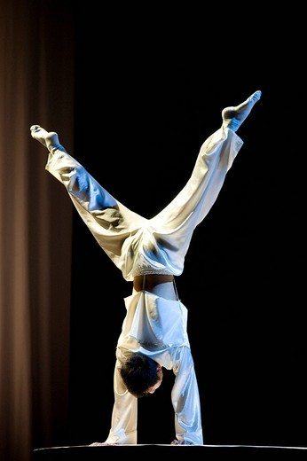 The Chinese National Circus from Shenyang performing the show Confucius, a journey through time showing 2500 years of Chinese philosophy, Berlin, Germany : Stock Photo