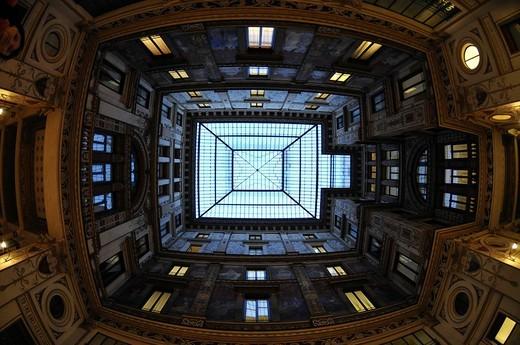 Glass roof of the Galleria Minghetti, Via Marco Minghetti, historic centre, Rome, Italy : Stock Photo