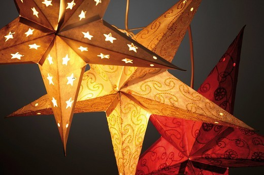 Illuminated stars, paper stars : Stock Photo