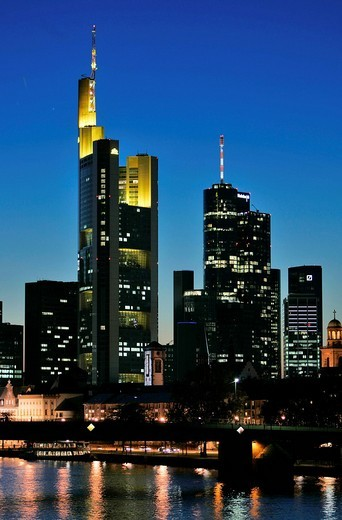 Stock Photo: 1848-185047 Skyline of Frankfurt Main, Hessen, Germany.