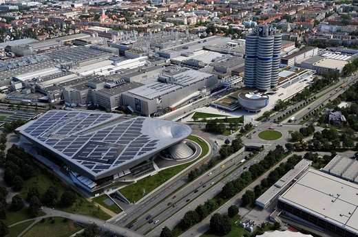 Stock Photo: 1848-185807 View of the factory, the BMW_World Museum and the BMW headquarters in Munich, Bavaria, Germany, Europe