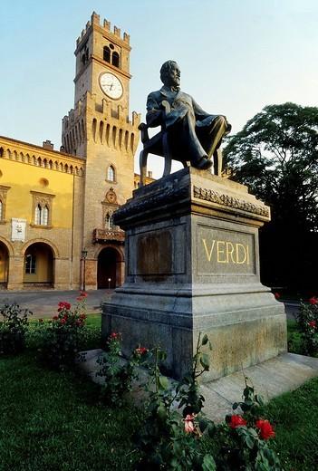 Stock Photo: 1848-186002 Verdi monument, Giuseppe Verdi Theatre, Busseto, province of Parma, Emilia_Romagna, Italy, Europe