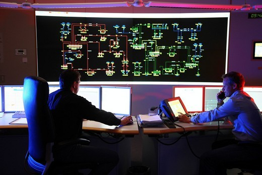 Power Control Centre of the ELE, Emscher Lippe Energie GmbH, a subsiduary of the RWE, control room of the regional energy network for gas and electricity, Gladbeck, North Rhine_Westphalia, Germany, Europe : Stock Photo