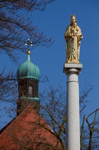 Marian column, Vohburg, Upper Bavaria, Bavaria, Germany : Stock Photo