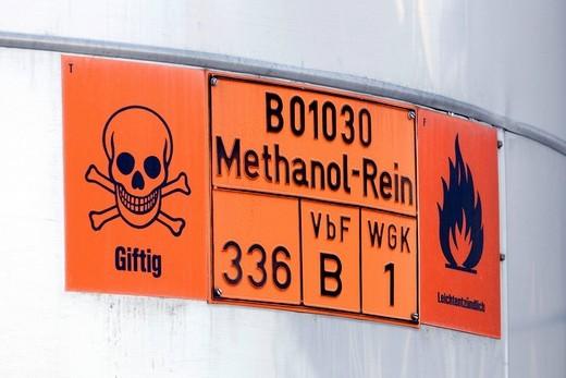 Warning sign, methyl, toxic, highly flammable, at the fuel depot of the pharmaceutical company Boehringer Ingelheim GmbH, Ingelheim, Rhineland_Palatinate, Germany, Europe : Stock Photo