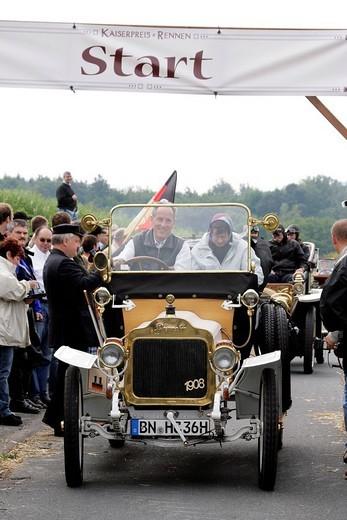 Vintage car of 1908 Brennabor Typ A, Kaiserpreis_Rallye 2007, Bad Homburg, Taunus, Hesse, Germany : Stock Photo