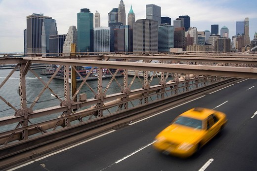 Stock Photo: 1848-187016 View from Brooklyn Bridge to Manhattan, New York, USA