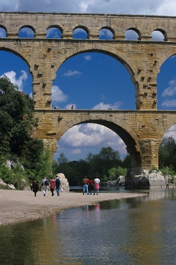 Stock Photo: 1848-187085 Roman aqueduct Pont du Gard, Remoulins, Provence, South of France, France