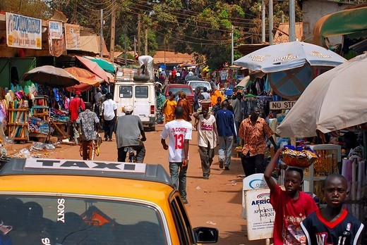 Streetlife scene in Serekunda, The Gambia, Africa : Stock Photo