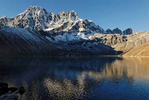 Holy lake Dudh Pokhari near Gokyo and Pharilapche6017, Sagarmatha National Park, Khumbu, Nepal : Stock Photo