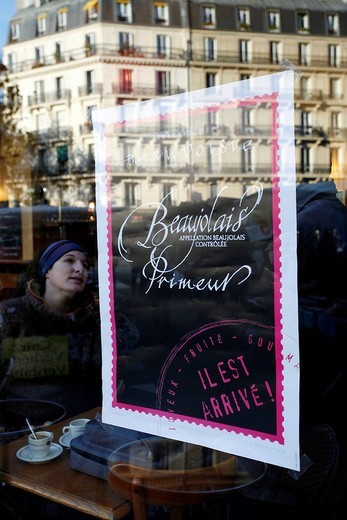 Stock Photo: 1848-187431 Beaujolais Primeur wine advertised in the window of a bistro at Place Maubert, Quartier Latin, Paris, France, Europe
