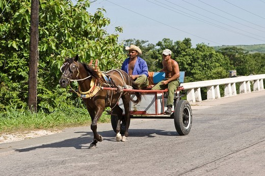 Stock Photo: 1848-18755 Horse_drawn wagon with Cubans on the way to Cienfuegos, Cuba, the Caribbean, America