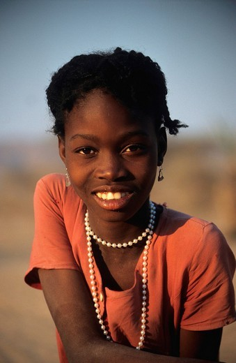 Stock Photo: 1848-187625 Young girl wearing a pearl necklace, near Sesfontein, Damaraland, Namibia, Africa