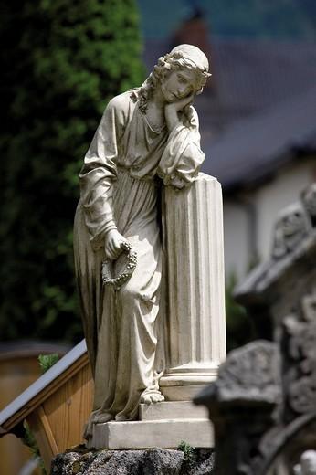 Statue, Oberammergau Graveyard, Upper Bavaria, Germany, Europe : Stock Photo