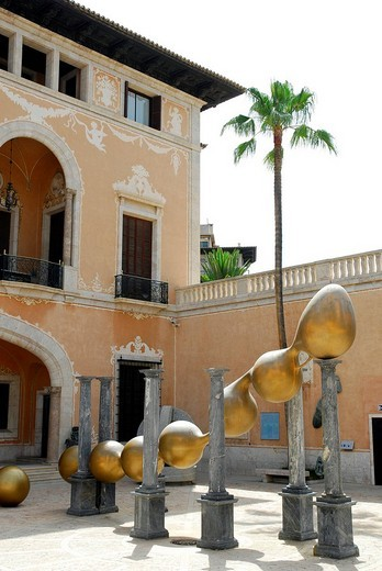 Terrace with modern art in the March Palace, Palau March, museum in a town palace in the historic centre, Ciutat Antiga, Palma de Majorca, Balearic Islands, Spain, Europe : Stock Photo