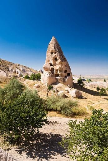 Stock Photo: 1848-18802 Rock dwellings of Uchisar, Cappadocia, Cental Anatolia, Turkey, Asia