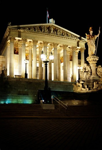 Austrian parliament at night, Vienna, Austria, Europe : Stock Photo