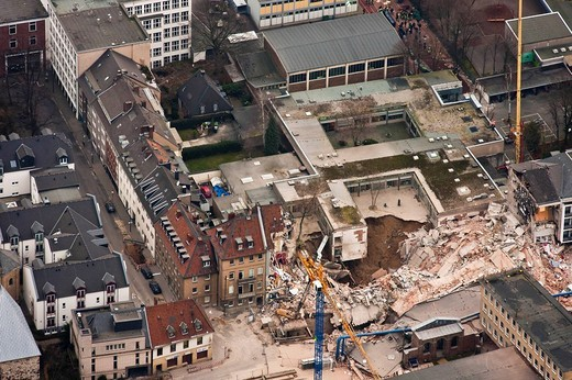 Aerial view, collapse of the Historical Archive of the City of Cologne, Cologne, North Rhine_Westphalia, Germany, Europe : Stock Photo