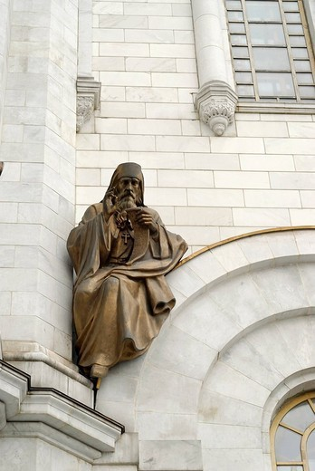 Stock Photo: 1848-188251 Fragment of facade with high relief of a saint, Cathedral of Christ the Saviour, Moscow, Russia