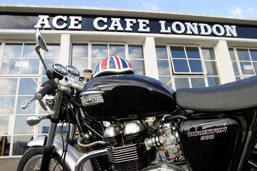 Stock Photo: 1848-188354 Motorcyclist meeting point ACE Cafe, London, England