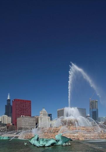 Stock Photo: 1848-188430 Buckingham Fountain in Grant Park, Chicago, Illinois, USA