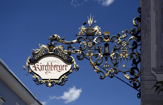 Stock Photo: 1848-188528 Handcrafted advertising sign of a shop, in a town alley, Bruneck, Val Pusteria, Alto Adige, Italy, Europe
