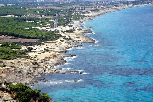 Stock Photo: 1848-188541 View from the La Mola plateau, vantage point on the Roman road, Cami Roma, view of Es Calo bay and Playa Tramuntana beach, Platja de Tramuntana, Illa de Formentera island, Balearic Islands, Spain, Europe