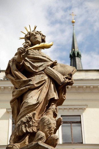 Stock Photo: 1848-188579 Statue on top of the Marian column on the market square, &268,eský Krumlov, Czech Republic, Europe